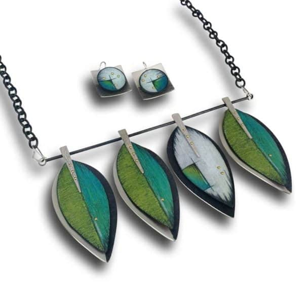 Deb Karash leaf pendant and earrings