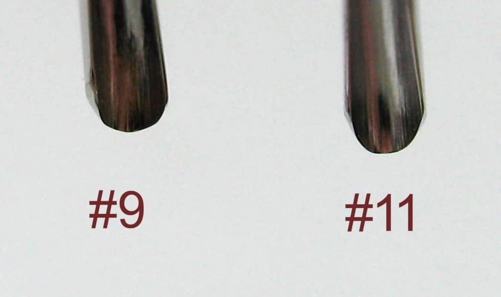Comparison of Drake #9 and #11 gouges