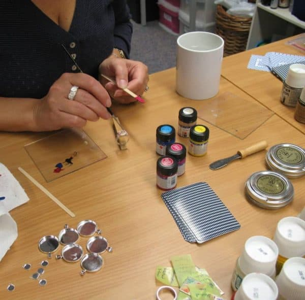 working with ceramic paint on jewellery