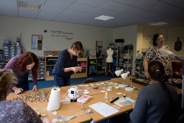 Beginners metal clay class in progress