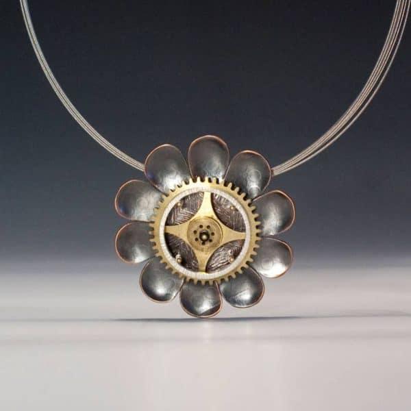 Deb Karash brass and copper flower