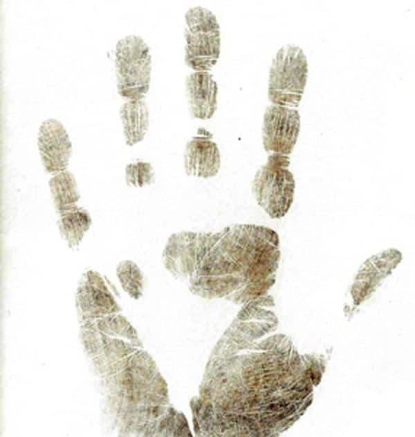 Inkless wipe hand print