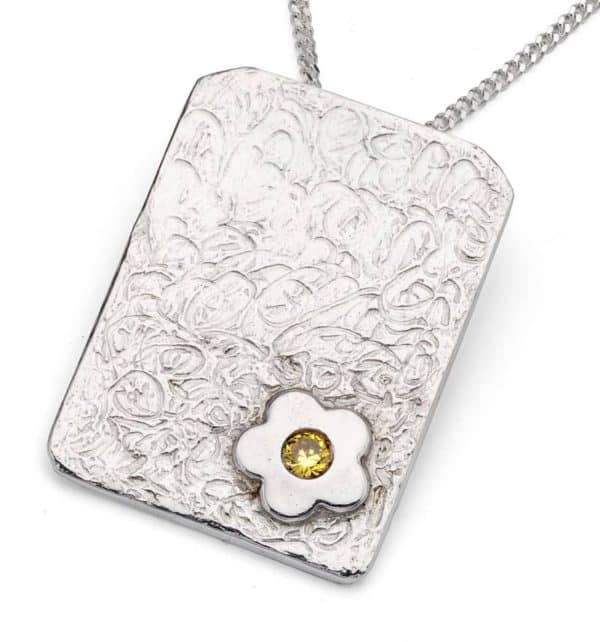 Metal clay stone set pendant