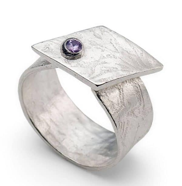 Metal clay ring with stone