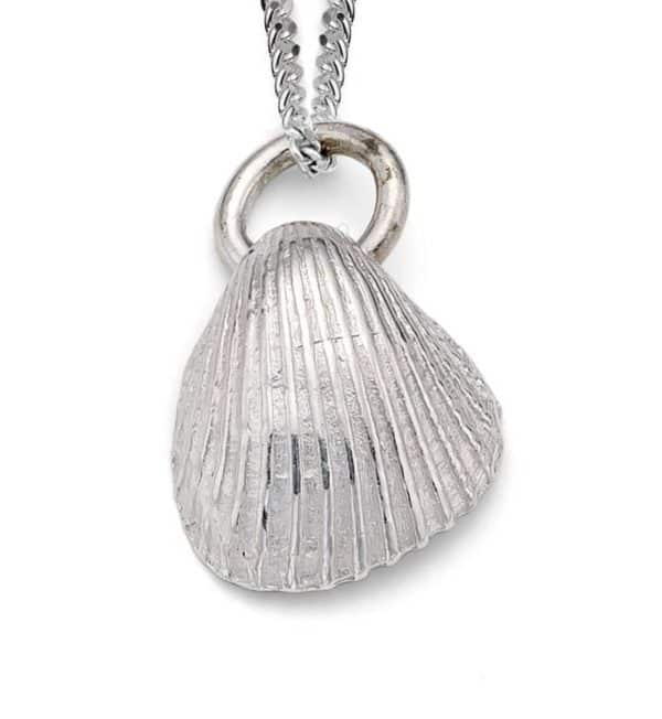 Silver clay shell pendant