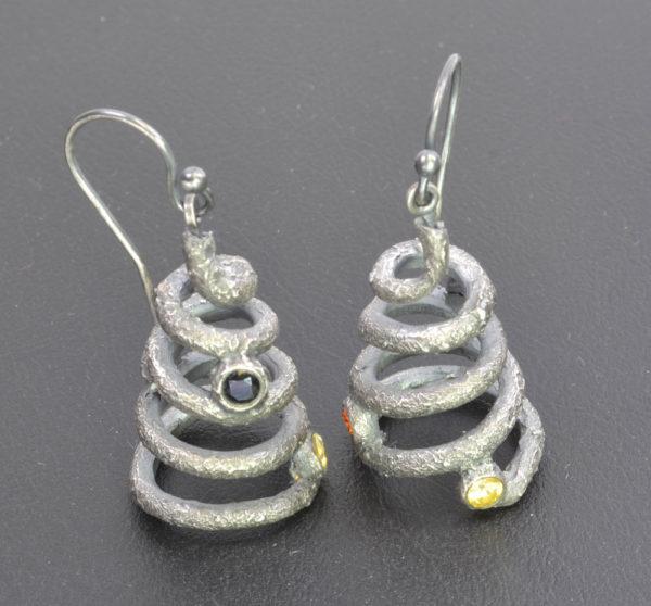 Spiral metal clay earrings by Julia Rai