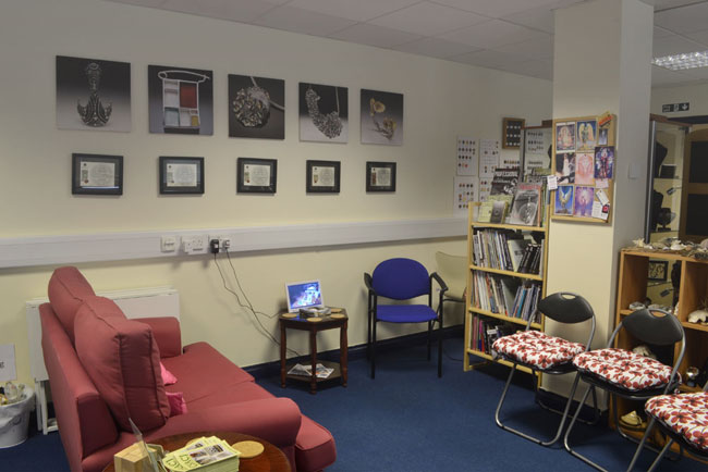 We have a comfy area to sit and enjoy lunch or read a book from our library