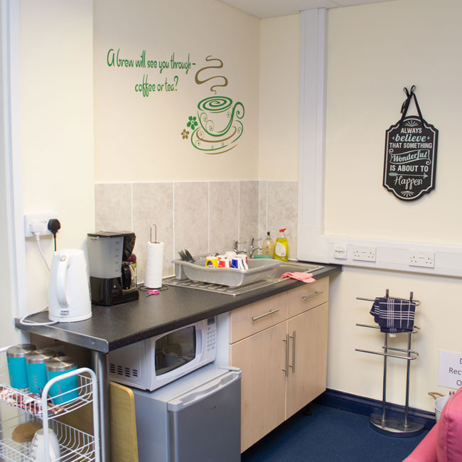 We have a fridge, microwave, tea and coffee making facilities in our compact kitchen