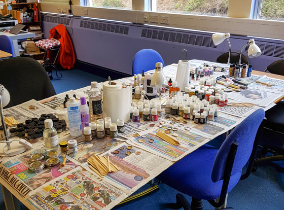 Tools and materials are provided for most of our classes, the colour class has so much choice, it's hard to know where to start!