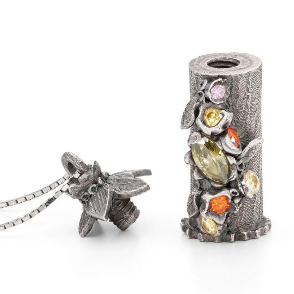 Metal clay box pendant
